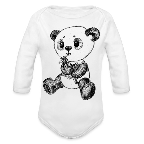 Panda bear black scribblesirii - Organic Long Sleeve Baby Bodysuit