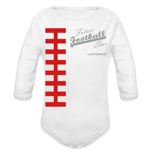 Football Laces for Baby 1 - Organic Long Sleeve Baby Bodysuit