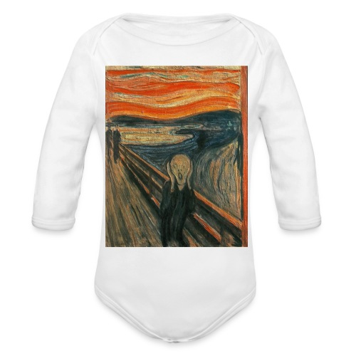 The Scream (Textured) by Edvard Munch - Organic Long Sleeve Baby Bodysuit