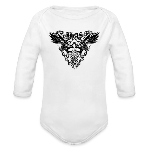 Vintage JHAS Tribal Skull Wings Illustration - Organic Long Sleeve Baby Bodysuit