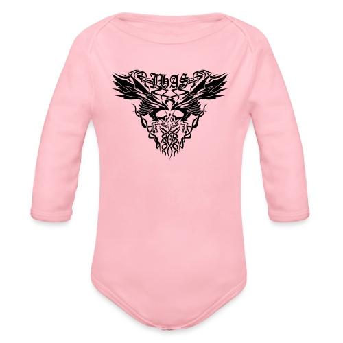 Vintage JHAS Tribal Skull Wings Illustration - Organic Long Sleeve Baby Bodysuit