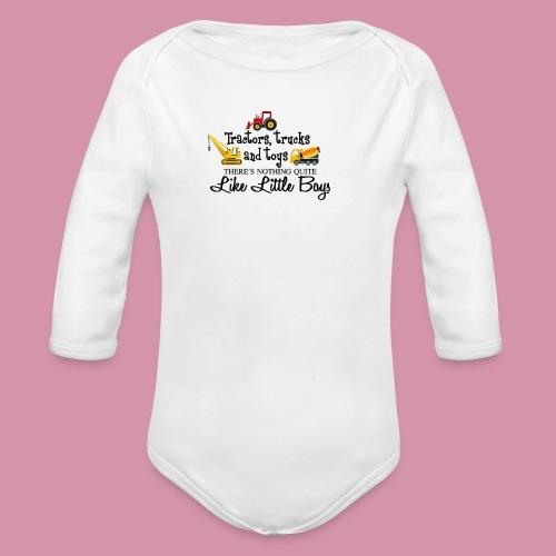 trucks and boys - Organic Long Sleeve Baby Bodysuit