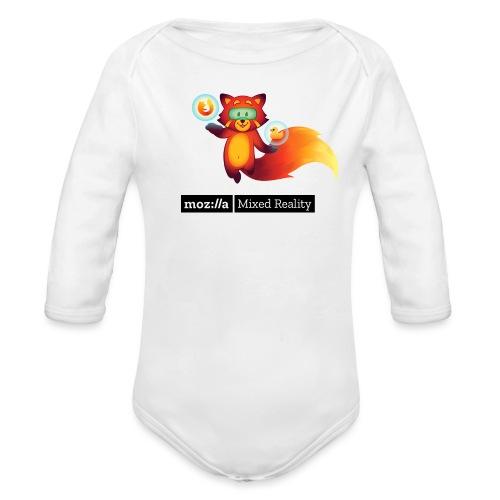 Foxr Floating (black MR logo) - Organic Long Sleeve Baby Bodysuit