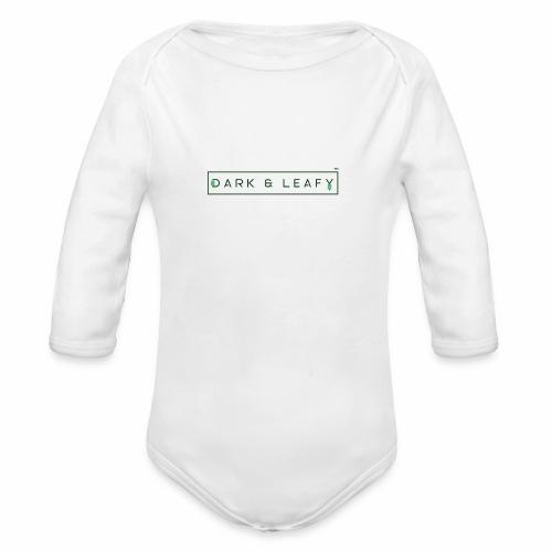 Dark & Leafy Logo - Dark Green - Organic Long Sleeve Baby Bodysuit