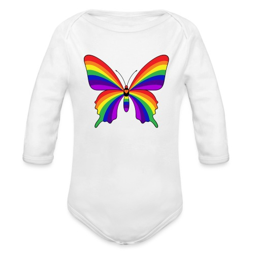 Rainbow Butterfly - Organic Long Sleeve Baby Bodysuit