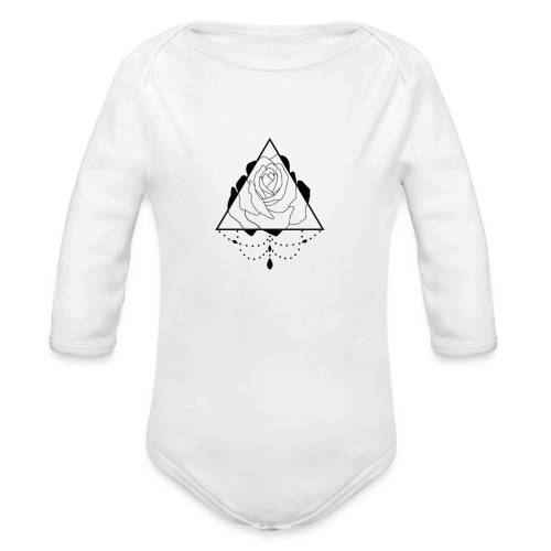 black rose - Organic Long Sleeve Baby Bodysuit