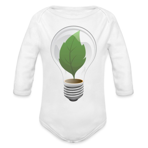 Clean Energy Green Leaf Illustration - Organic Long Sleeve Baby Bodysuit