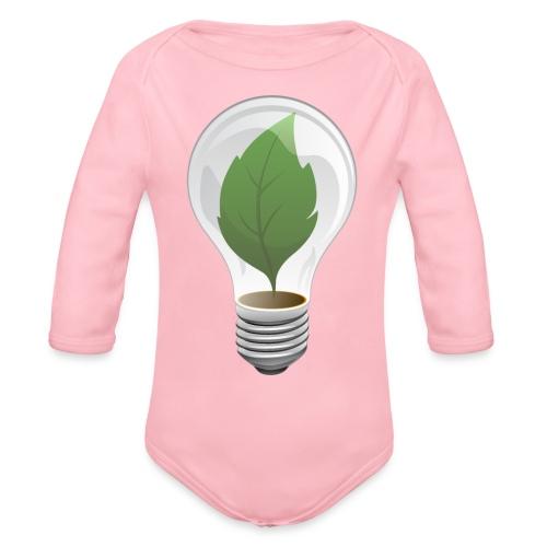 Clean Energy Green Leaf Illustration - Organic Long Sleeve Baby Bodysuit