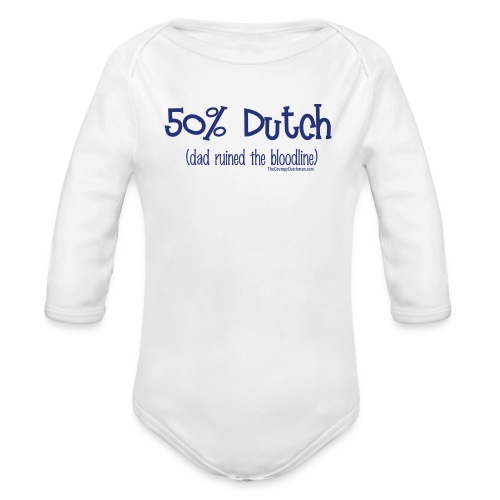 Bloodline Dad blue lettering - Organic Long Sleeve Baby Bodysuit