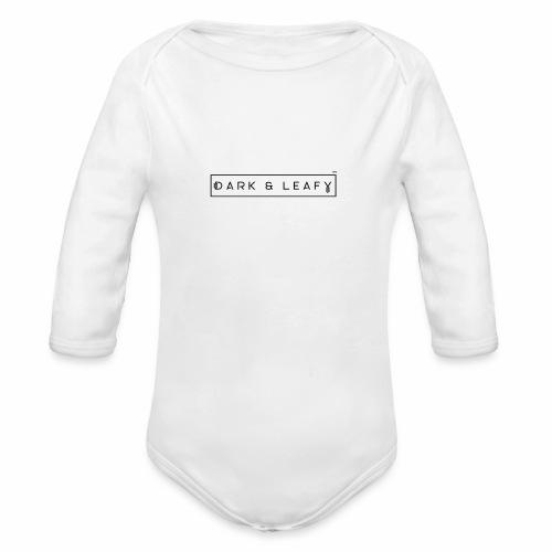 Dark & Leafy Logo - Black - Organic Long Sleeve Baby Bodysuit