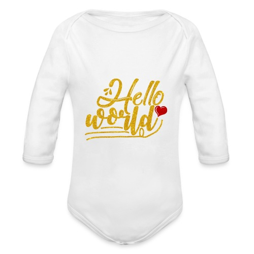 Baby Girl Clothes/Hello World/Home Outfit - Organic Long Sleeve Baby Bodysuit