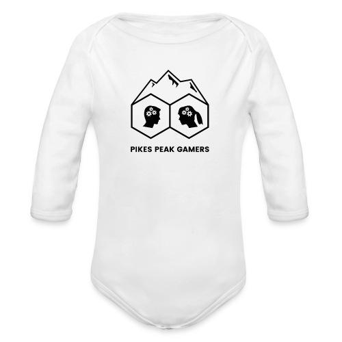 Pikes Peak Gamers Logo (Solid White) - Organic Long Sleeve Baby Bodysuit