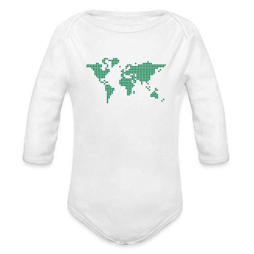 It s a Pixelous World - Organic Long Sleeve Baby Bodysuit