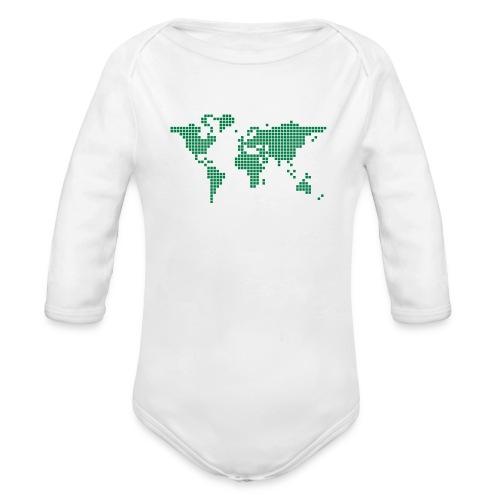 It s a Pixelous World - Organic Long Sleeve Baby Bodysuit