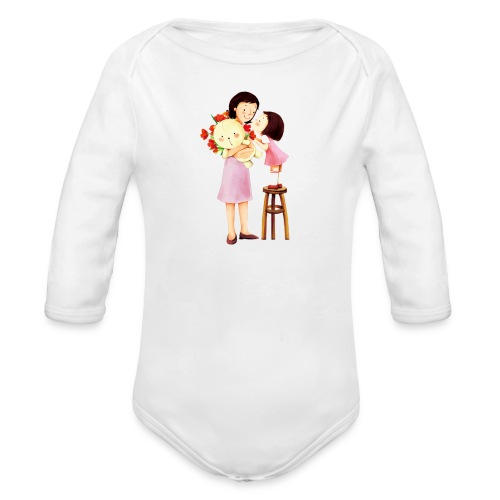 i love you mom - Organic Long Sleeve Baby Bodysuit