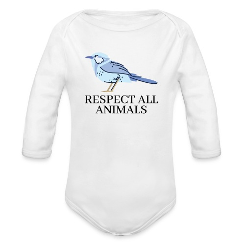 RESPECT ALL ANIMALS (Blue Bird) - Organic Long Sleeve Baby Bodysuit
