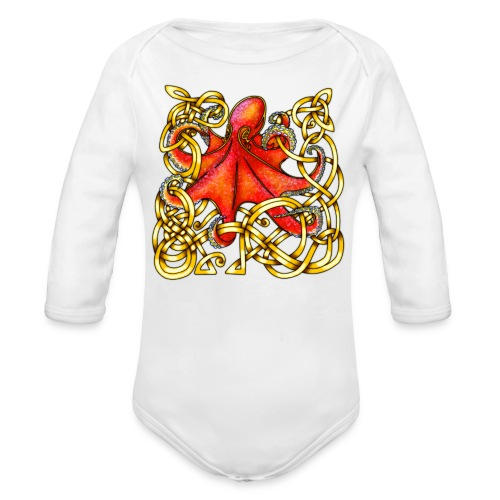 Octopus - Red & Gold - Organic Long Sleeve Baby Bodysuit