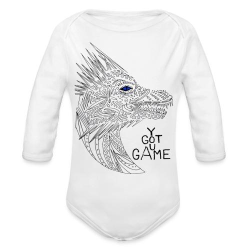 Blue eye dragon - Organic Long Sleeve Baby Bodysuit