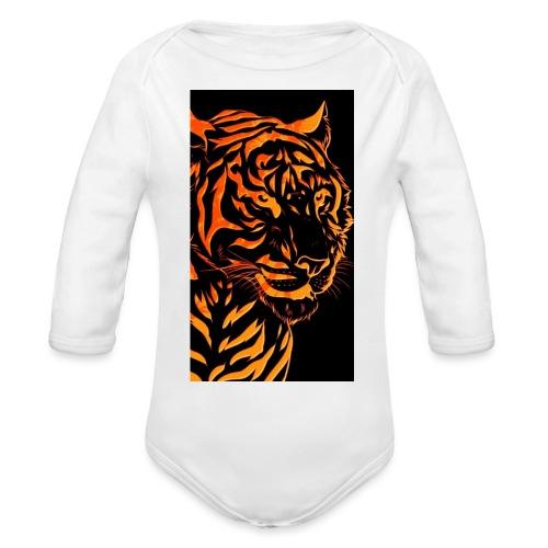 Fire tiger - Organic Long Sleeve Baby Bodysuit