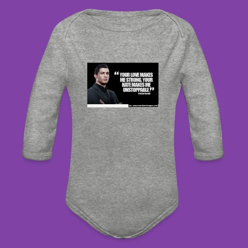 255777-Cristiano-ronaldo------quote-w - Organic Long Sleeve Baby Bodysuit
