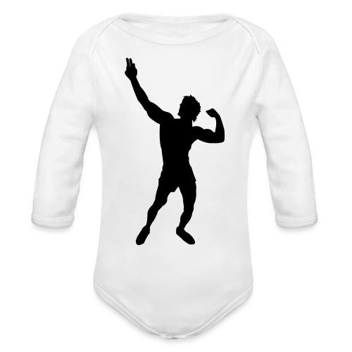 Zyzz Silhouette vector - Organic Long Sleeve Baby Bodysuit