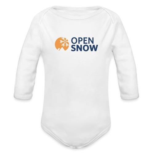 OpenSnow Horizontal Logo - Organic Long Sleeve Baby Bodysuit