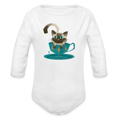 Cat in a Teacup by Kim B - Organic Long Sleeve Baby Bodysuit