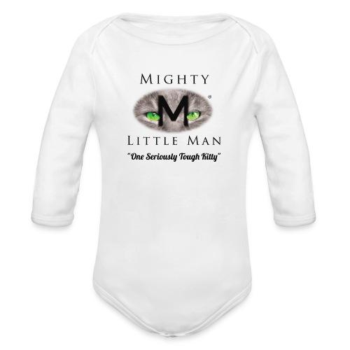 MIGHTY LITTLE MAN Logo - Organic Long Sleeve Baby Bodysuit