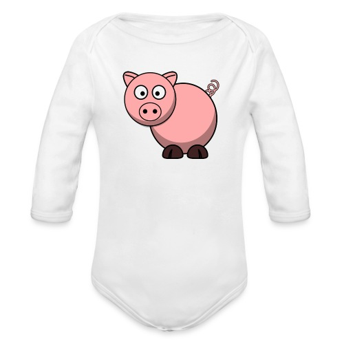 Funny Pig T-Shirt - Organic Long Sleeve Baby Bodysuit