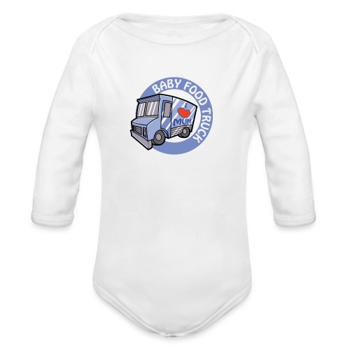 Blue Baby Food Truck - Organic Long Sleeve Baby Bodysuit