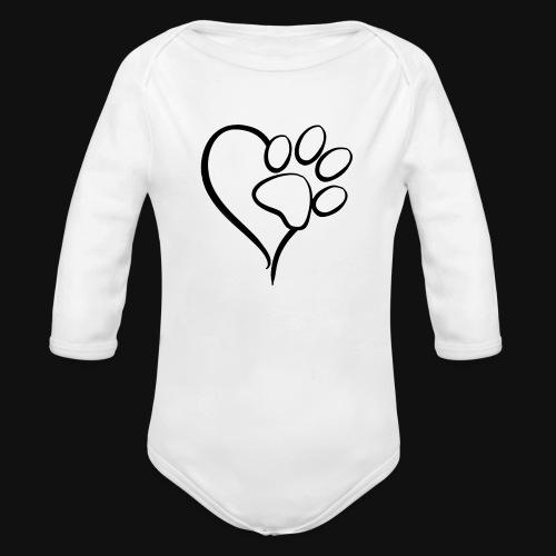 Pawprint on my Heart - Organic Long Sleeve Baby Bodysuit
