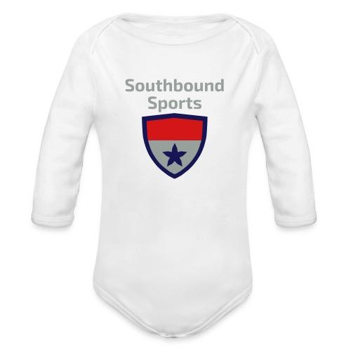 The Southbound Sports Shield Logo. - Organic Long Sleeve Baby Bodysuit
