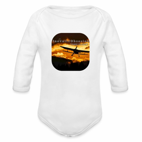"InovativObsesion ""TAKE FLIGHT"" apparel - Organic Long Sleeve Baby Bodysuit"