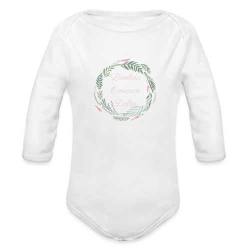 LOD Flower Wreath 1 - Organic Long Sleeve Baby Bodysuit