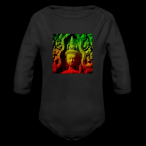 Cambodian stone sculpture - Organic Long Sleeve Baby Bodysuit