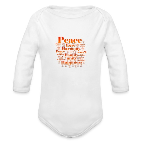 PEACE LOVE HARMONY - Organic Long Sleeve Baby Bodysuit