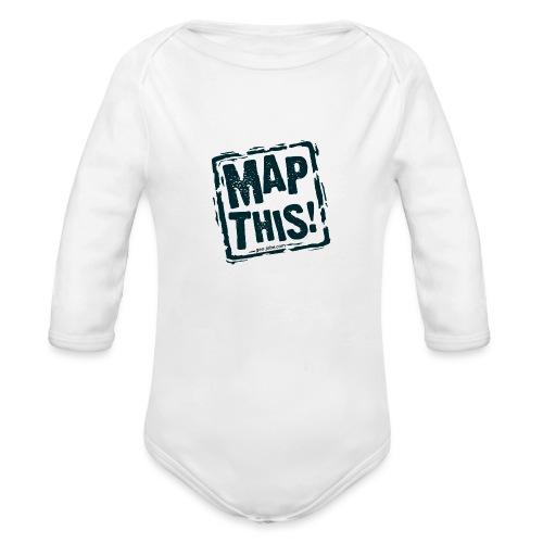 MapThis! Black Stamp Logo - Organic Long Sleeve Baby Bodysuit