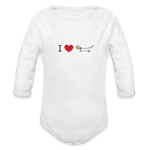 I love Dachshund - Organic Long Sleeve Baby Bodysuit