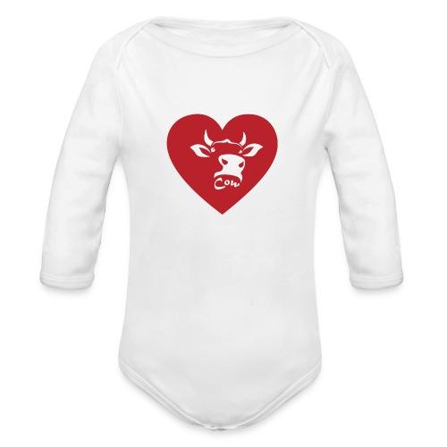 Cow Heart - Organic Long Sleeve Baby Bodysuit