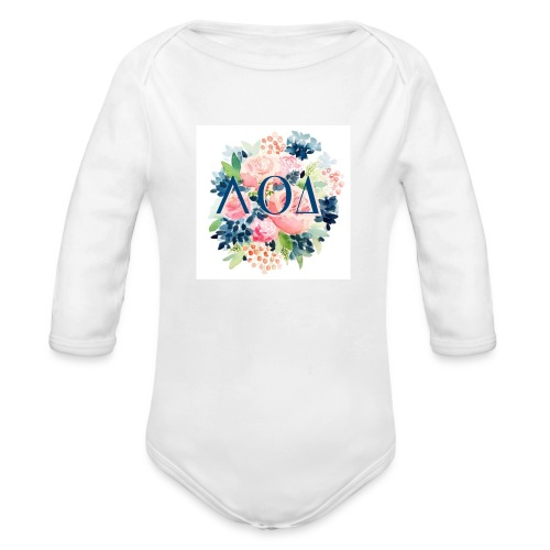 Watercolor Pin - Organic Long Sleeve Baby Bodysuit