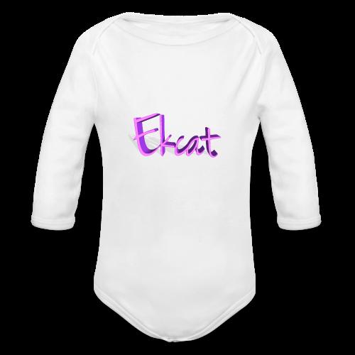Ekcat text - Organic Long Sleeve Baby Bodysuit