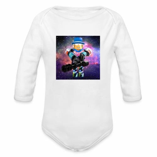 sean roblox character with minigun - Organic Long Sleeve Baby Bodysuit