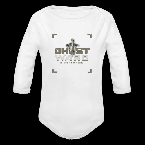 Ghostware Square Logo - Organic Long Sleeve Baby Bodysuit