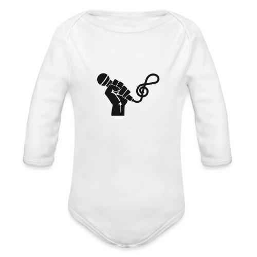 music microphone fist - Organic Long Sleeve Baby Bodysuit