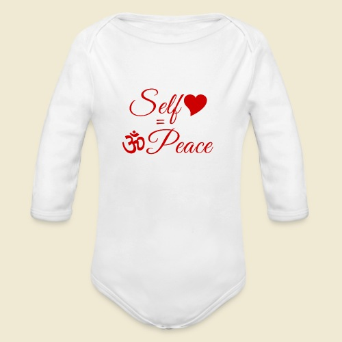 108-lSa Inspi-Quote-83.b Self-love = OM-Peace - Organic Long Sleeve Baby Bodysuit