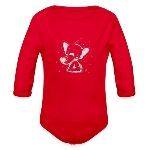 Baby elephant - Organic Long Sleeve Baby Bodysuit