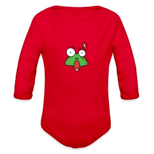 Frog with amazed face expression - Organic Long Sleeve Baby Bodysuit