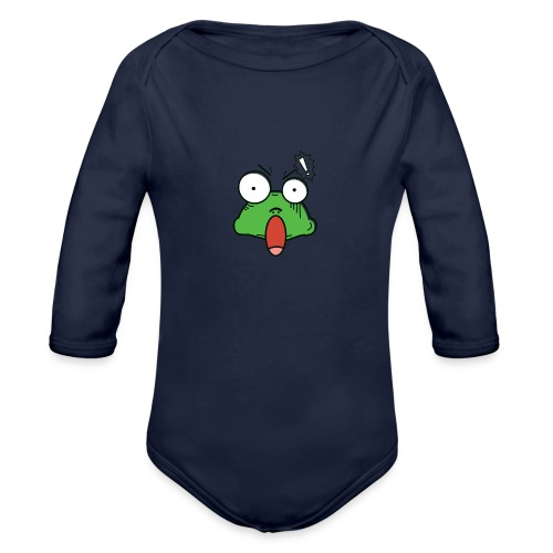 Frog with amazed face expression - Organic Long Sleeve Baby Bodysuit