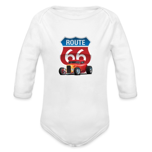 Route 66 Sign with Classic American Red Hotrod - Organic Long Sleeve Baby Bodysuit
