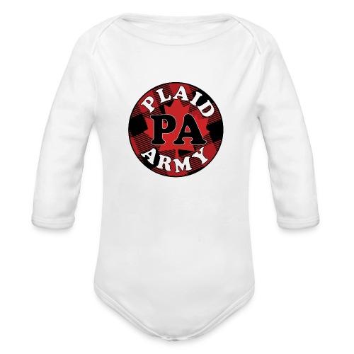 plaid army round - Organic Long Sleeve Baby Bodysuit